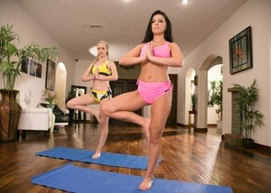 Hot chicks Lyra Law & Adriana Chechik go lesbian after a yoga session