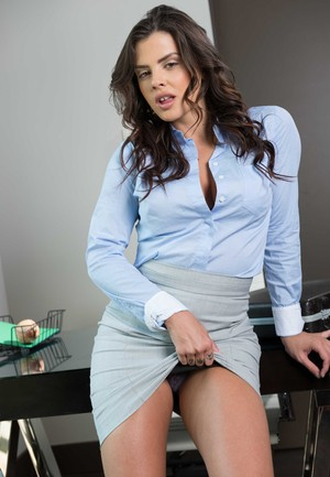 Hot boss lady Keisha Grey strips off her business attire in her office