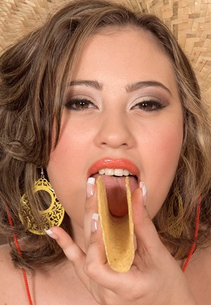 Argentinian female Selena Castro scarfs down some tacos while getting banged