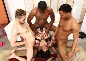 White chick Jennifer White gets gangbanged by a group of willing black men