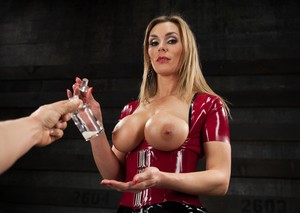 Busty blonde female Tanya Tate instructs a man to jerk off for her