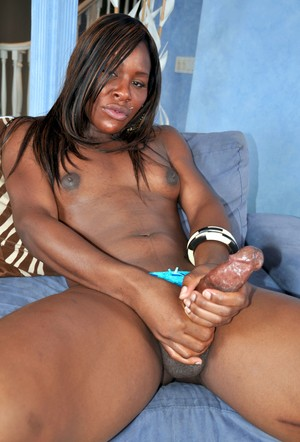 Black shemale Sex Kitten jerks on her big tranny cock with both hands