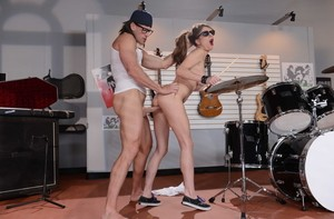 Busty girl Dillion Carter fucks the music store employee in the store