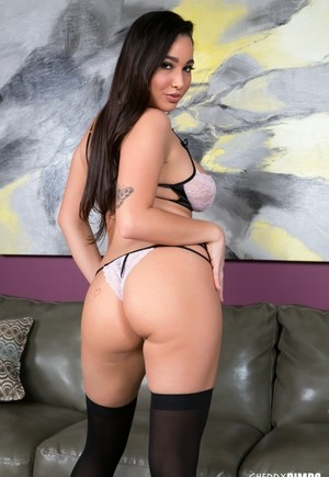 Busty female Karlee Grey takes a sex toy to her tidily trimmed pussy