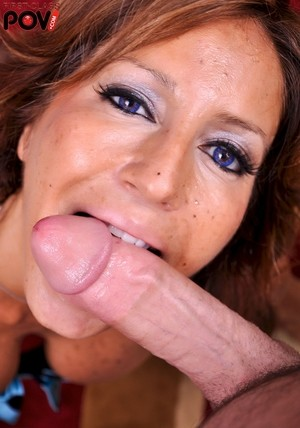 Middle-aged woman Tara Holiday sucks the jizz from a cock in POV mode