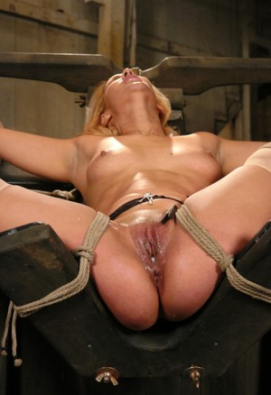 Submissive female Isis Love gets creampied after being fucked in bondage