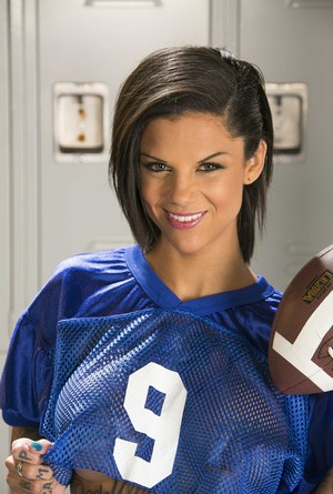 Female football player Bonnie Rotten shows off her ink and tits in locker room