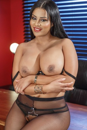 Latina receptionist Mary Jean strips to crotchless pantyhose on desk