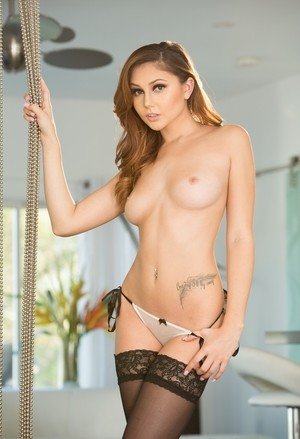 Petite girl Ariana Marie takes off sheer bra and panties before fucking