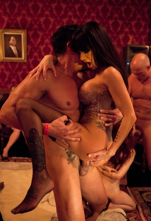 Swingers attempt to outdo each other in a wild sex party at a castle