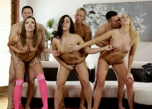 3 swinging couples from the same neighborhood get together for group sex