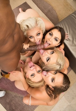 Hot chicks go as a far as a DP with a couple of big black dicks