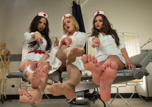Hot nurses get together to show off their pretty feet along with a blonde teen