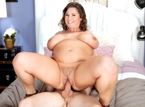 Thick female Nikki Smith concludes a fuck with sperm on her tongue and boobs