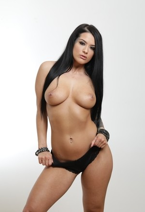 Solo girl Katrina Jade does a slow striptease until she's completely naked