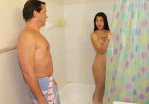 Young brunette girl Logan Lace fucks her stepfather in the bathroom
