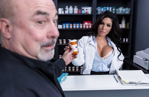 Big titted pharmacist Emily B serves customers while having sex behind counter