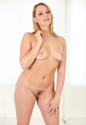 Hot blonde chick Mia Malkova removes jean shorts on way to nude posing