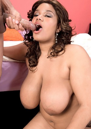 Big boobed ebony chick Sadie Blooms brings whip cream to a fuck session