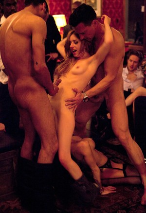 Swinging chicks go as far as getting fisted during a night of group sex
