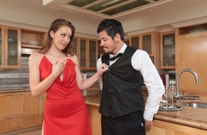 Cheating housewife Jessie Wylde bangs a member of the catering company