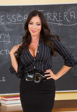 Colombian professor Ariella Ferrera strips to her stockings after a lecture