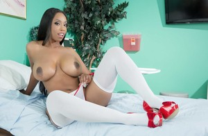 Sexy ebony MILF Codi Bryant takes off her naughty nurse uniform