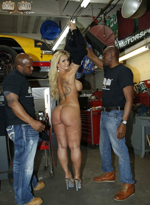 Blonde cougar Ryan Conner gets tagged 2 on 1 by two black dudes with big rods