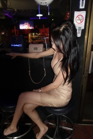 Three shemale whores from Thailand are ready to show cocks in local bar