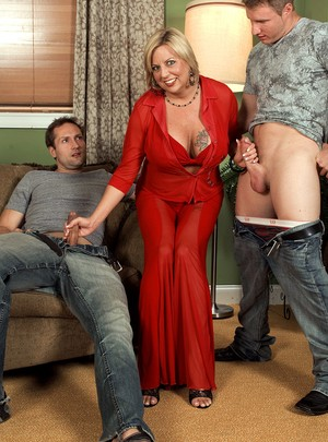 Luxurious busty cougar in red needs two dicks and anal sex to reach orgasm