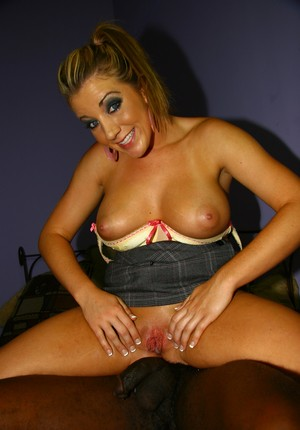 Black bull with giant dick fills pussy of busty blue-eyed slut with sperm