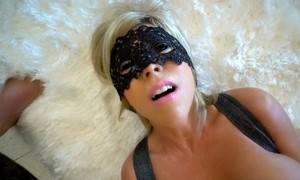Blonde MILF with big tanned tits in stockings and corset facialized after bj