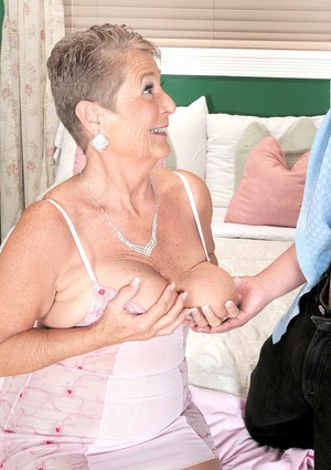 Short haired nan Joanne Price performs hardcore sex acts with her toy boy