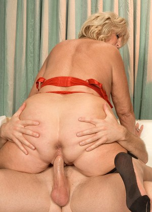 Young guy fucks horny grannys pussy and butthole after she gives him blowjob