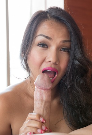 Hot Asian shemale gets banged by a man that wields a large penis