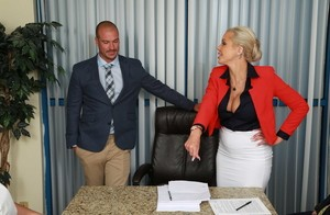 Blonde boss lady Nina Elle fucks a male subordinate during a meeting