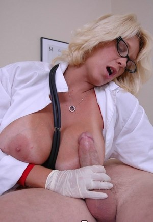 Blonde doctor Charlee Chase munches on his pecker before riding him