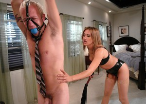 Man with tied to the ceiling hands spanked and sucked by hot Gwen Diamond