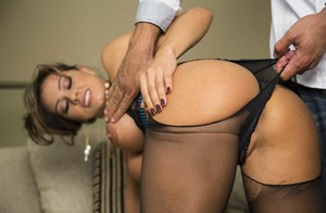 Real estate agent Esperanza Gomez lets client tear pantyhose to fuck her