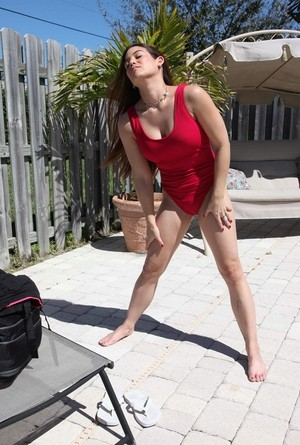 Brunette female Ryder Skye passes her lifeguard exam by fucking the instructor