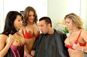 Slutty Asian owner of barbershop makes sure client is fully satisfied