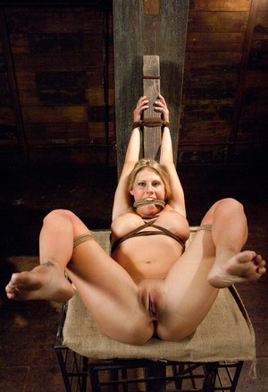 Incredible blonded babe Charisma Cappelli gets tied up while receiving anal
