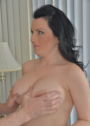 Bald man got an awesome sex with brunette MILF with huge tits Stacey Ray