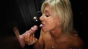 Experienced blonde gags on various cocks to receive cumshots in the mouth