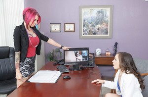 Tiffany Star receives her inked doctor Anna Bell Peaks's strapon in her holes