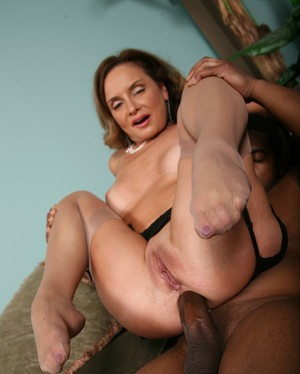 Cougar Rebecca Bardoux enjoying rough anal session with a muscle black guy