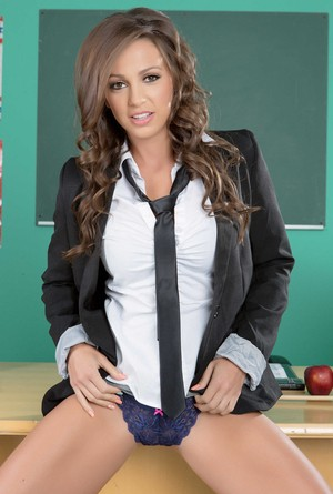 Naughty schoolgirl Abigail Mac getting horny & naked in the classroom