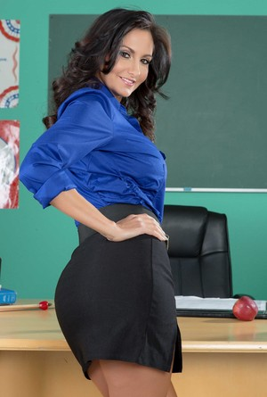 Big breasted teacher Ava Addams rubbing her vagina after classes