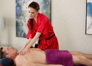 Ginger masseuse gets pounded and sprayed by her horny older client