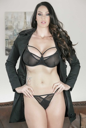Big tit MILF Alison Tyler takes her coat  lingerie off and poses on the sofa